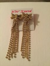 $55 Betsey Johnson Anchors Away Mesh Now Chain Linear Drop Earrings BL 48
