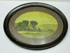 Antique 10x12 Oval Tin Framed Glass Farmer Harvest Field River Old Print Free Sh
