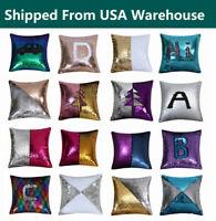 "16"" Magic Mermaid Reversible Sequin Glitter Cushion Cover Throw Pillow Case"