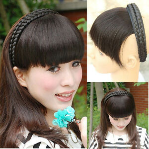 65g Virgin 100% Real Human Hair Braid Headband Bangs Fringe Hair Extensions