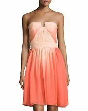 NWT Halston Heritage Size 4 Strapless Ruched-Top Chiffon Dress Orange Ombre $475
