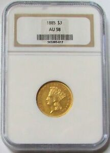 1885 GOLD $3 INDIAN PRINCESS HEAD 692 MINTED NGC ABOUT UNCIRCULATED 58