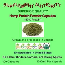 100% Organic Hemp Protein Powder Capsules 1000mg Per Capsule ~ TEMP PRICE CUT! ~