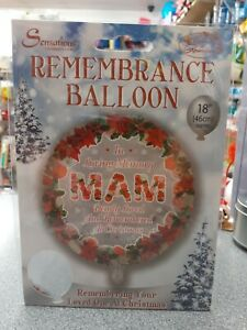 """Christmas Remembrance 18"""" Red Circle Foil Helium Balloon In Loving Memory ~ Mam"""