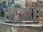 Ornaments With  Clock Crushed Diamonds Glitter Stones Home Decorations Silver