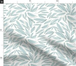 Blue Flowers Leaves Floral Nature Whimsical Hand Spoonflower Fabric by the Yard