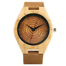 Men's Bamboo Wooden Watch with Brown Cowhide Leather Strap Quartz Casual Watches