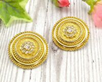 Vintage Large Gold Tone Metal Round Clip On Earrings with Clear Crystals