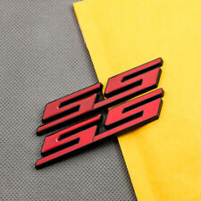 2x Black & Red Metal SS Car Trunk Sticker Emblem Sport Fender Badge for Camaro