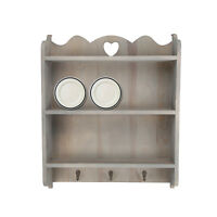 Shabby Chic Wall Unit Shelf Storage Cupboard Cabinet Key Hooks Vintage Style