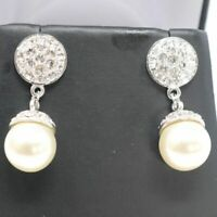 Antique Vintage White Round Akoya Pearl Dangle Earrings 14K White Gold Plated