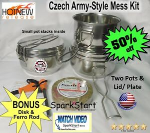 Camping Cookware Mess Kit Backpacking Gear & Hiking Outdoors Bug Out Bag Cook...