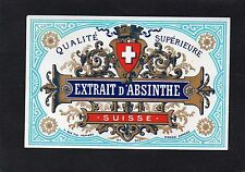 ABSINTHE VIEILLE LITHOGRAPHIE19e  EXTRAIT D' ABSINTHE SUISSE RARE    §10/06/16§
