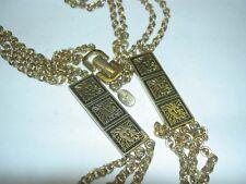 Vintage ANNE KLEIN Black & Gold Lion Logo 32 Inches Long Chain Necklace