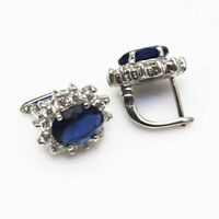 Sterling Silver 925 Earrings for Women Oval Simulated Sapphire 6.0 CTW CZ