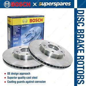2 x Bosch Front Disc Brake Rotors for Mitsubishi Lancer CJ CF Outlander ZG ZH