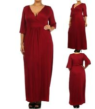 LD12 Womens Red Size 18/20 3/4 Sleeves Maxi Summer Spring Beach Party Dress Plus