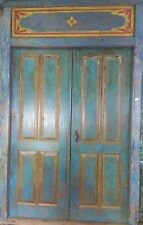 Balinese Original Antique Timber Hand Carved Doors Rustic Blue Yellow Red White