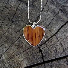 KOA WOOD HAWAIIAN HEART SCROLL SILVER RHODIUM PLATED BRASS PENDANT BRP1078