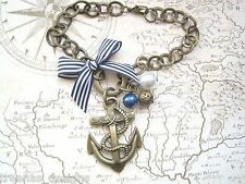 NAUTICAL BRONZE ANCHOR TATTOO CHARM Navy Blue Stripe Bow Bracelet Sailor Jerry