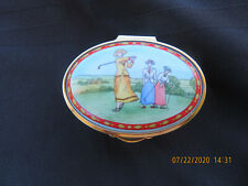 """Ladies Golfing "" Staffordshire Enamels Made In England Trinket Box"