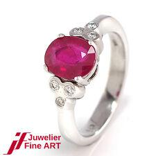 Ring 585/14K Weißgold - 1 Rubin 1,74 ct + 6 Diamanten 0,09 ct - 4,0 g - Gr. 51