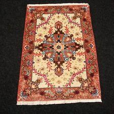 Orient Teppich Beige 73 x 51 cm Perserteppich Seide Handgeknüpft Silk Carpet Rug