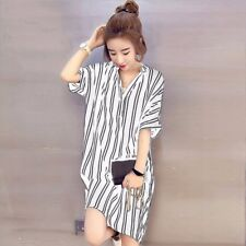 Women Buttons V Neck Stripe Shirt Dress Knee Length Loose Mini Dress Plus Size