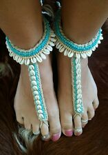 Handmade BAREFOOT SANDALS Boho Bohemian Cowrie Shells Turquoise Beach Bali S