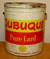 Vintage Large Dubuque Packing Co. 50 Pound Tin / Metal Pure Lard Can w/ Lid Iowa