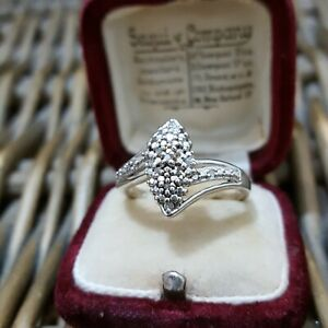 Natural Diamonds Sterling Silver Cocktail Ring, Size S US Size 9, 925 Silver