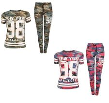 Ladies Women New York 98 Camouflage Army Print T Shirt Bottom Camo Set Tracksuit