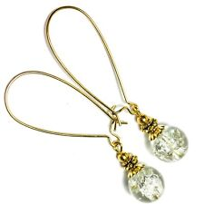 Extra Long Gold Earrings Clear White Crackle Glass Bead Drop Dangle Kidney Wires