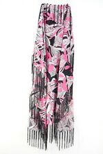 BLACK/PINK/WHITE FLORAL INSPIRED LADIES TASSELLED SCARF ABSTRACT THEME(MS9)