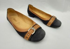 GABOR SACCHETTO BROWN & NAVY BLUE LEATHER PUMPS / FLAT SHOES UK6 FREE UK P&P!!