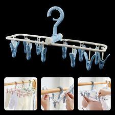 12 Clips Socks Clothes Drying Rack Portable Folding Cloth Socks Hanger Holder