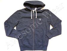 New Ralph Lauren Polo Cotton Blend Vintage Navy Blue Fleece Hoodie Jacket sz XL