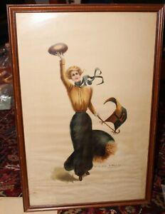 F Earl Christy Original Large Illustration Art 1900 Princeton Girl Pin-Up Art