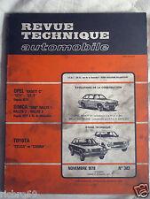 Revue Technique Automobile - Toyota Celica et Carina - N° 383 - Novembre 1978