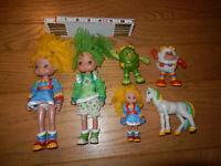 """Hallmark Rainbow Brite 8"""" Dolls Figures Sprites Patty O' Green 4"""" Starlite Horse"""