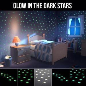 100Pcs 3D Stars Glow In The Dark 1x Moon Luminous Fluorescent DIY Wall Sticker #