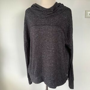 Apana Yoga Top Size M Rayon Blend Grey Hooded Long Sleeves with Thumb Holes
