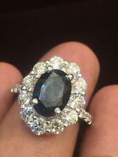 Pave 6,67 Cts Rond Brillante Couper Diamants Saphir Cocktail Bague En 750 18K Or