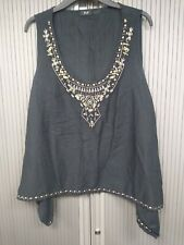 Embellished Black Top Embellished with Beads - Size 20 - 100% Cotton