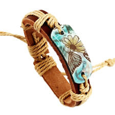 Retro Genuine Leather HIPPY, BUTTERFLY, FLOWER, PEACE 70`s Adjustable  Bracelet