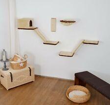 Silvio Design Katzen-Kletterwand mit Treppe - Beige, 8-Teilig