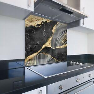 Toughened Printed Kitchen Glass Splashback - Luxury Black Gold Marble 138