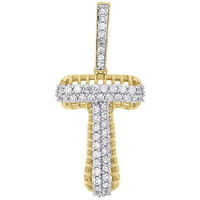 10K Yellow Gold Diamond T Initial Letter Pendant 2 Row Pave Dome Charm 1 CT.