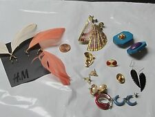 Lot 11 Earrings Feathers,Dolphin,Seashell s,Red,Blue,Pearl,Vintage,H and Made,Wood