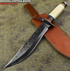 Brussel Rear Handmade Damascus Steel Camel Bone Art Hunting Bowie Knife